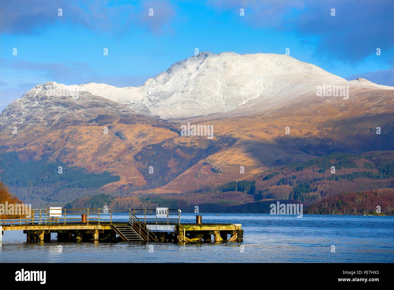 View of Ben Lomond from the Loch side at Luss village, Loch lomond, Argyll, Scotland, UK - Stock Image