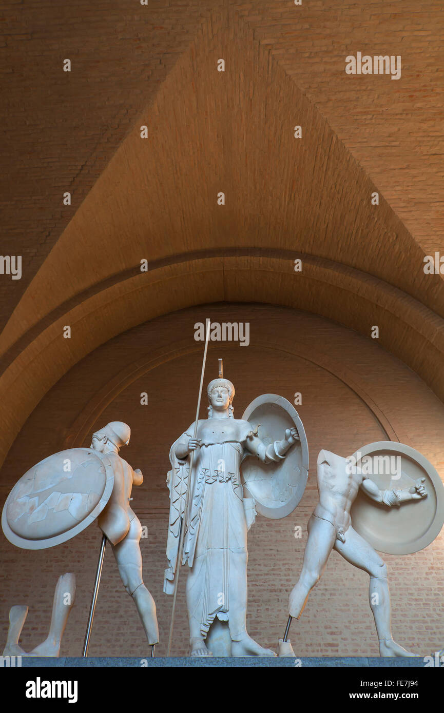 Sculptures of the West pediment of Aegina with Athena, Glyptothek, Königsplatz, Munich, Bavaria, Germany - Stock Image