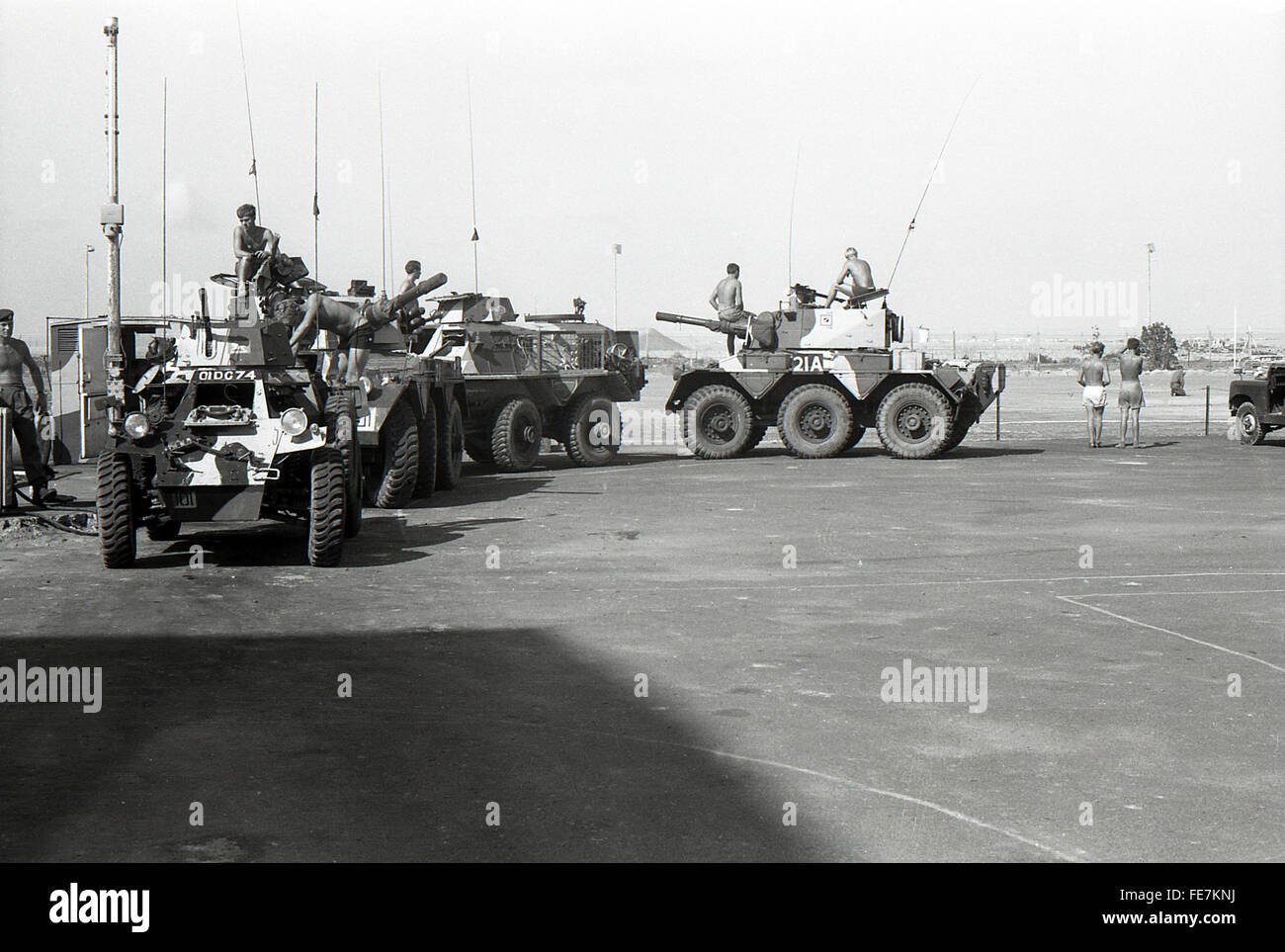 Support by Saladin Saracen and Ferret armoured car Aden