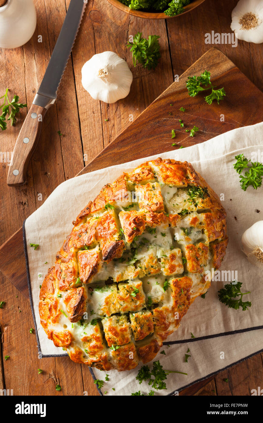 Homemade Cheesy Pull Apart Bread with Garlic and Parsley - Stock Image