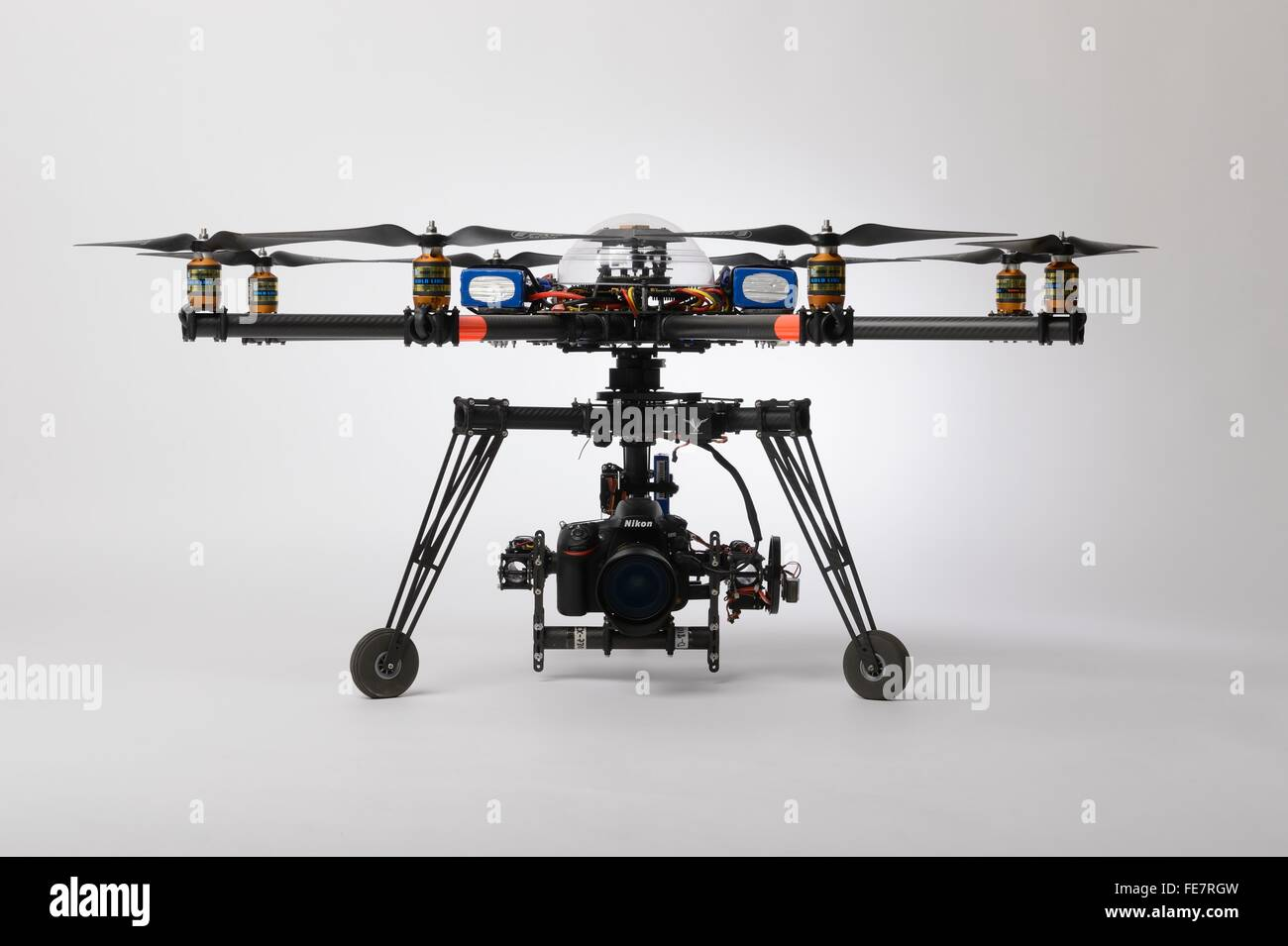 multirotor drone of the octocopter type used for professional aerial photography and cinematography with a stabilized - Stock Image