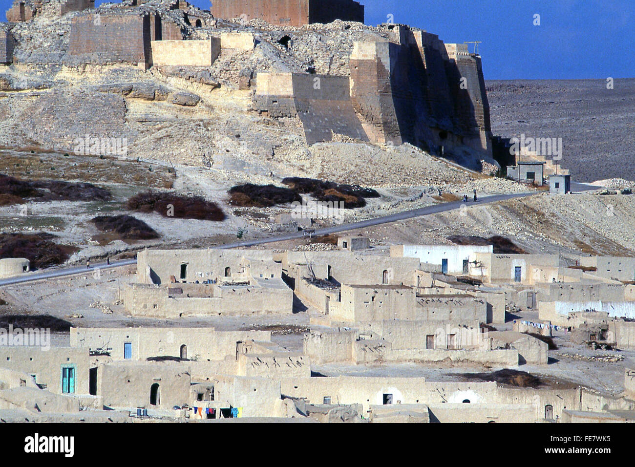 citadel of historic Crusader castle of Qalat Nejm in desert of Syria Middle East - Stock Image