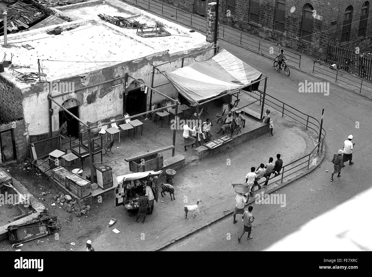 Coffee shop trader goats Aden Yemen 1967  British withdrawal - Stock Image