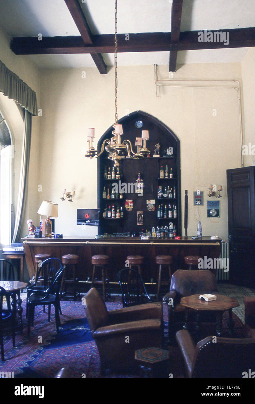 lounge and bar of the historic Baron Hotel in Aleppo, Syria, Middle East - Stock Image