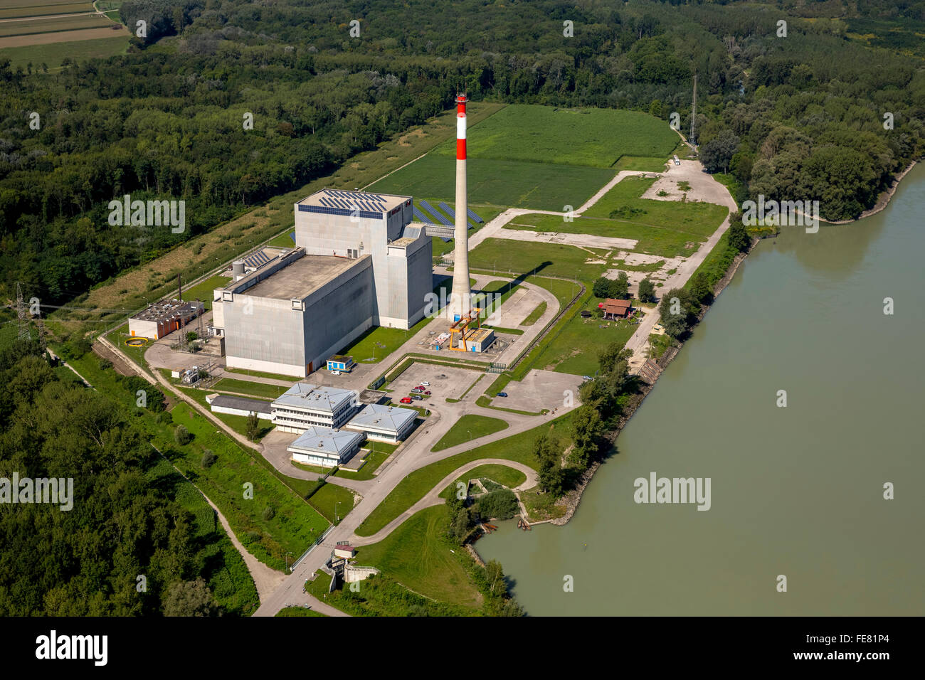 Aerial view, nuclear power, nuclear power plant Zwentendorf nuclear power plant Tullnerfeld, boiling water nuclear - Stock Image