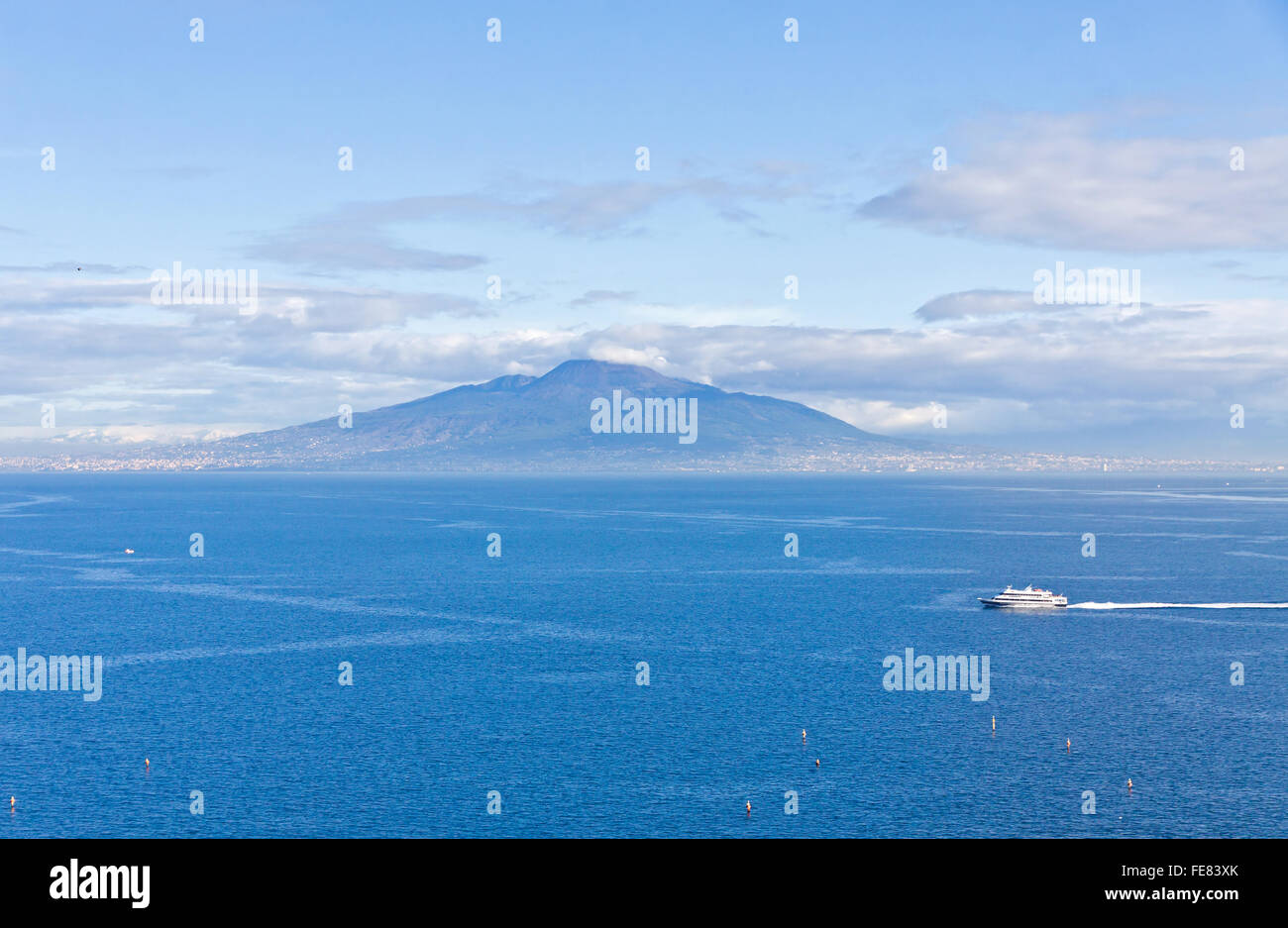 Picturesque view of Gulf of Naples and Mount Vesuvius on the background. View from Sorrento city, Campania, Italy - Stock Image