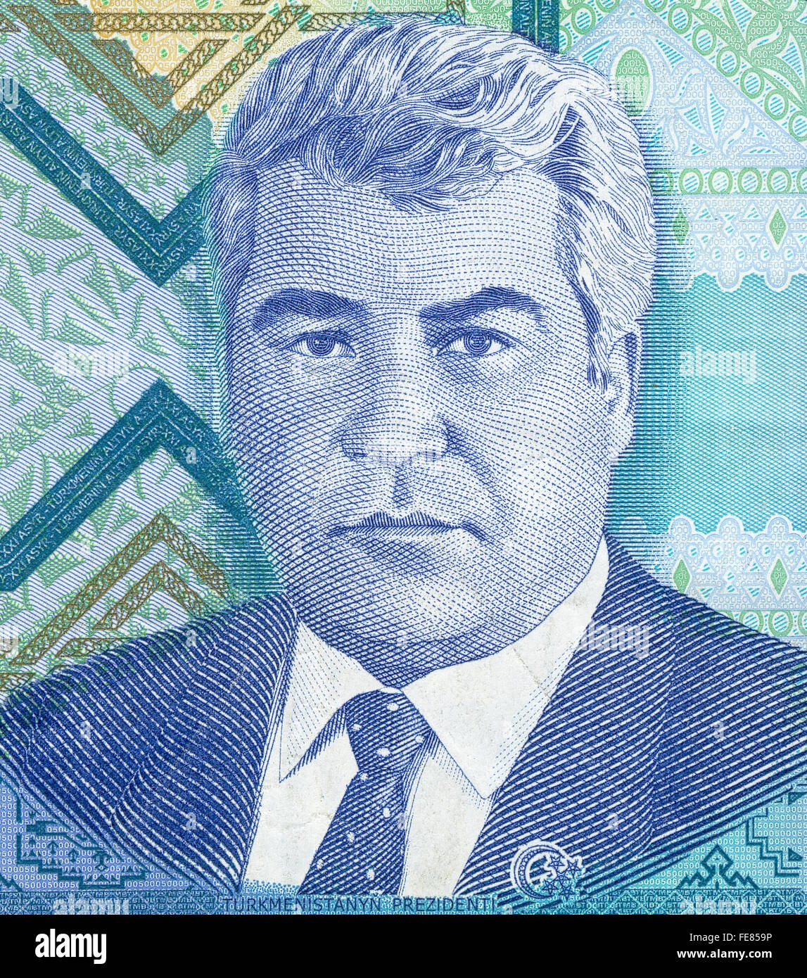 Portrait of the first President of Turkmenistan Saparmurat Niyazov from 5000 manat banknote Stock Photo