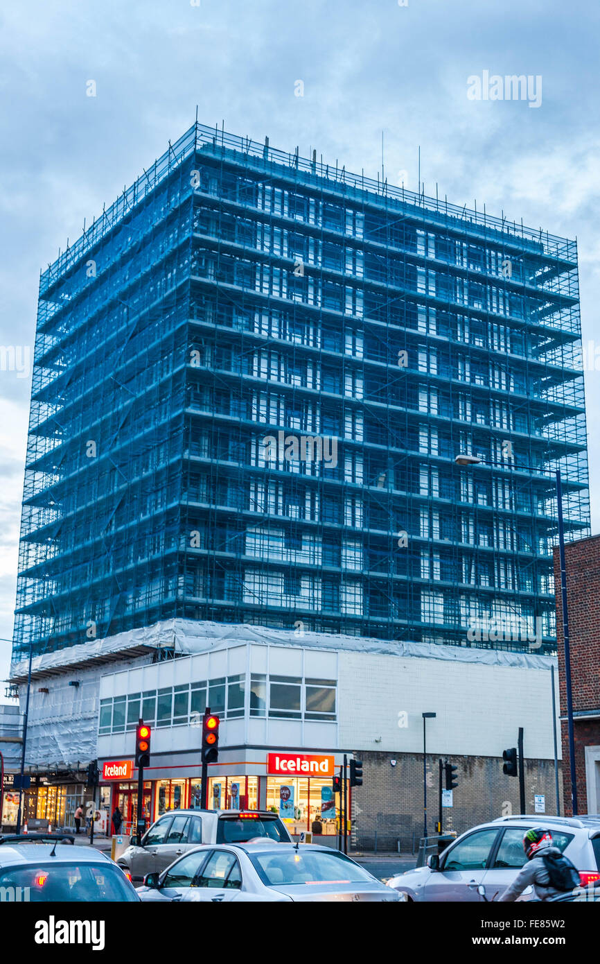 Scaffolding netting on building, Edgware, Greater London, England, UK Stock Photo