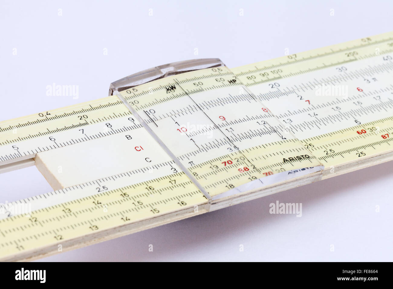 An old Aristo slide ruler used in maths, close up, UK - Stock Image