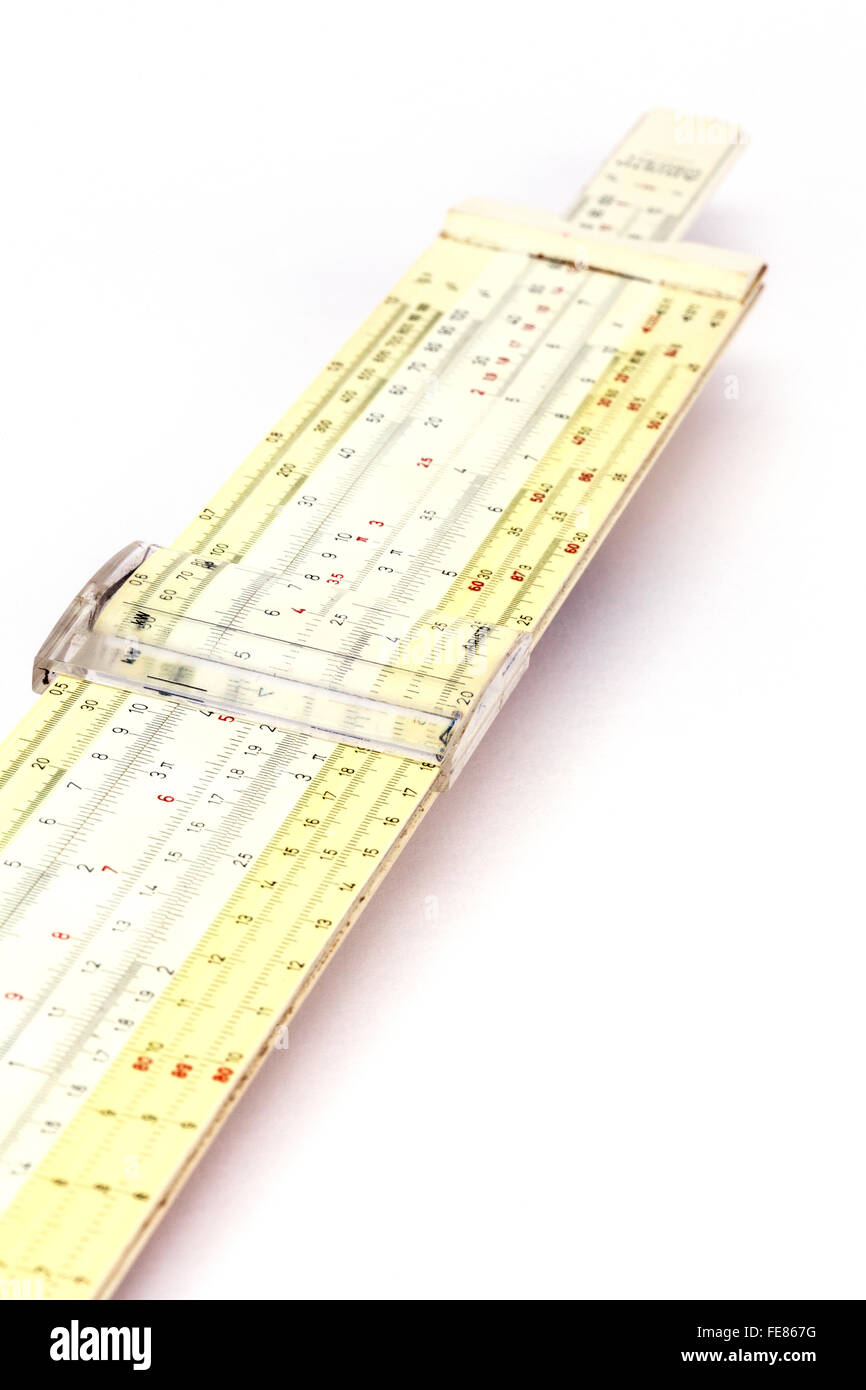 A slide rule - an outdated way of maths calculation, UK - Stock Image