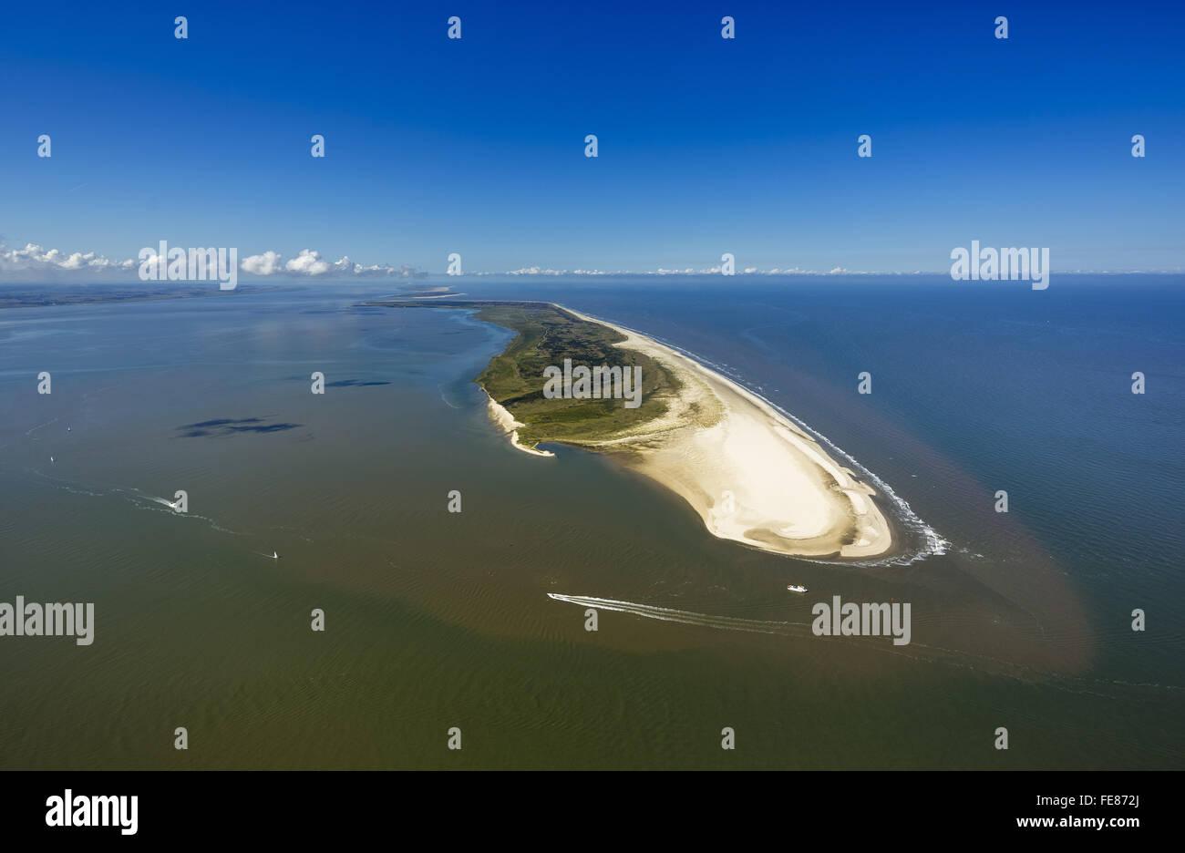 Osterhook, Wadden Sea, aerial view, Langeoog, North Sea, North Sea island, East Frisian Islands, Lower Saxony, Germany, Stock Photo