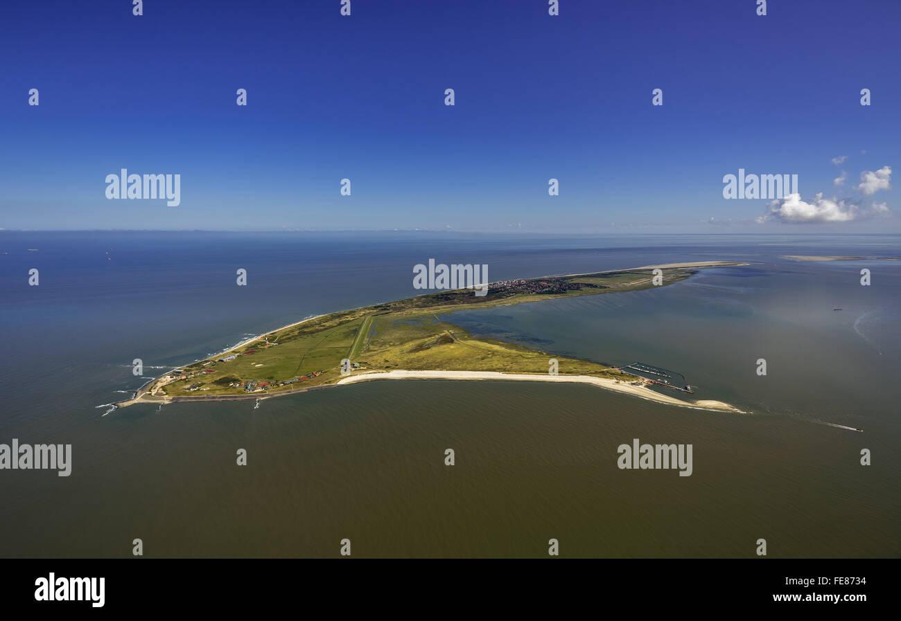 Wadden Sea, aerial view, Wangerooge, North Sea, North Sea island, East Frisian Islands, Lower Saxony, Germany, Europe, Stock Photo