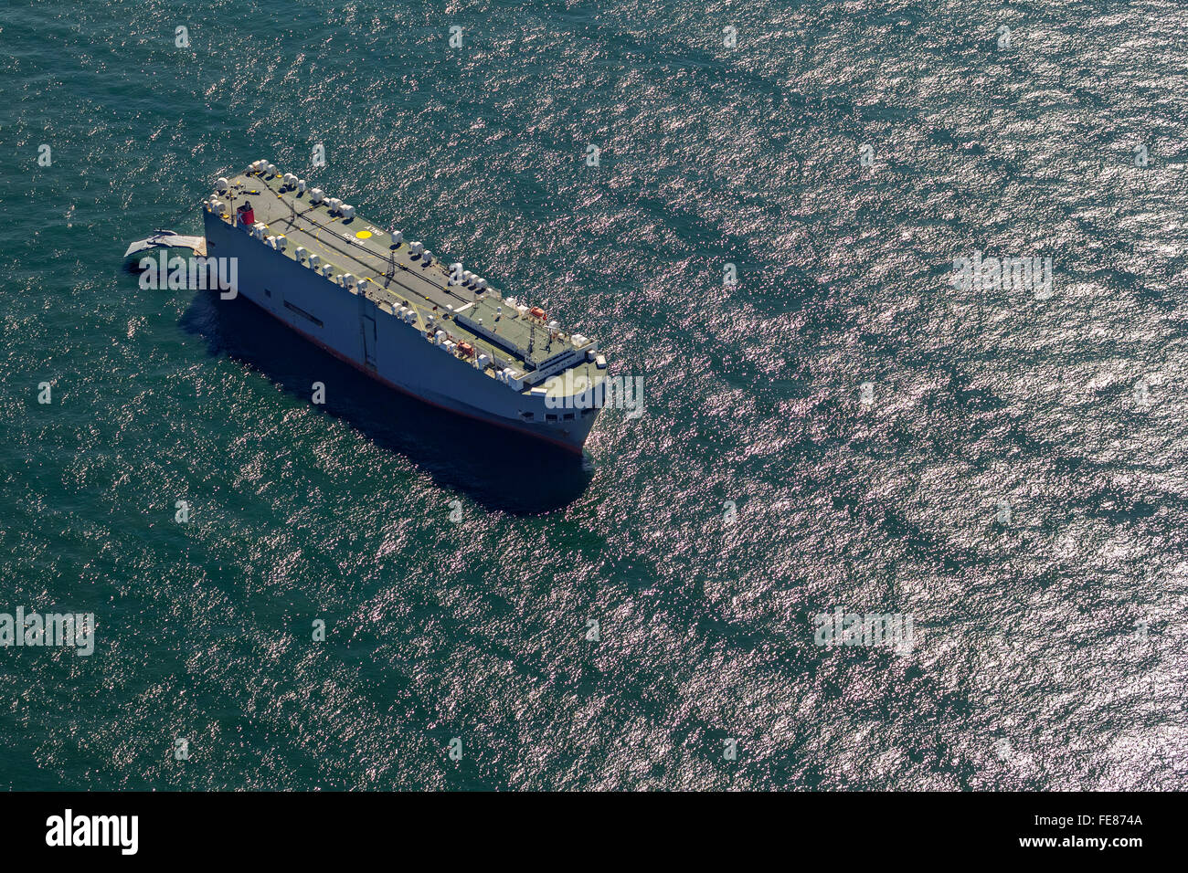 Aerial view, Cargo Ship, anchor Direction auto transporter Ocean Highway Panama, aerial view, cargo ships before - Stock Image