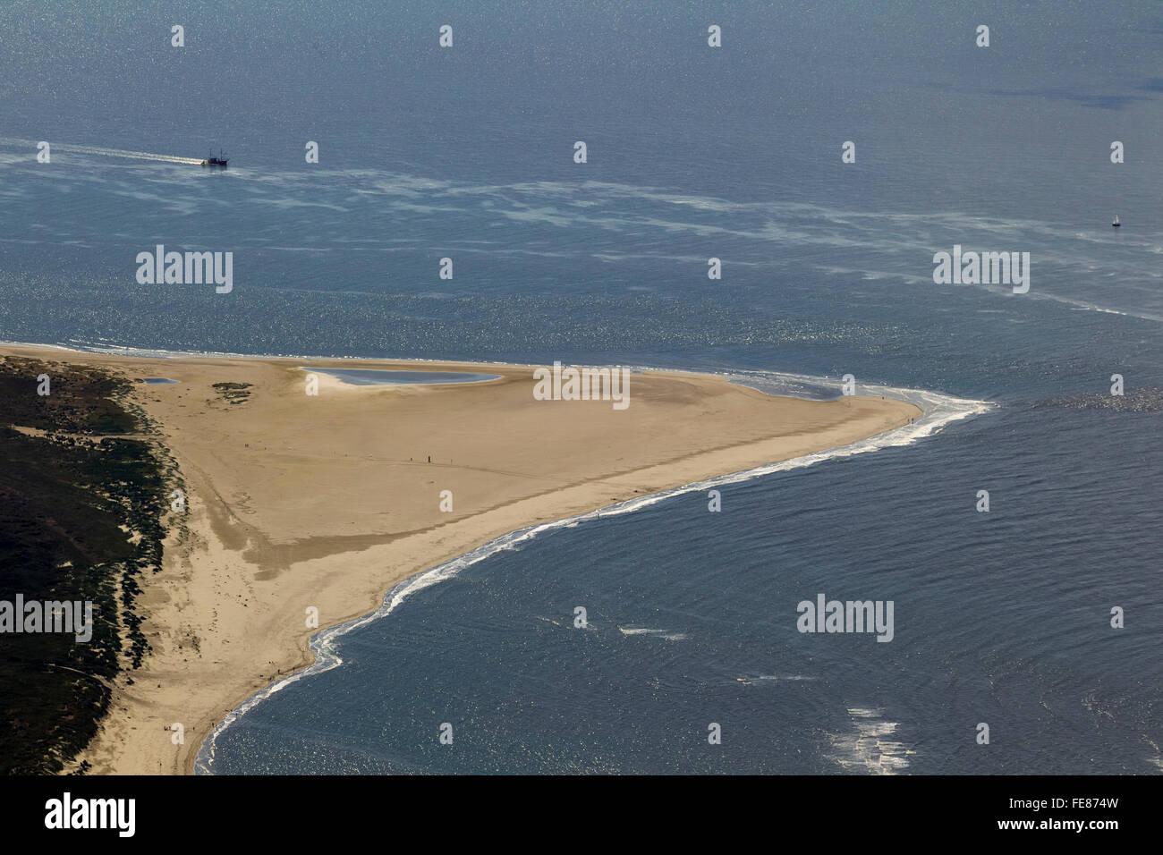 Sandy beach, Osterhook, aerial, Langeoog, North Sea, North Sea island, East Frisian Islands, Lower Saxony, Germany, Stock Photo