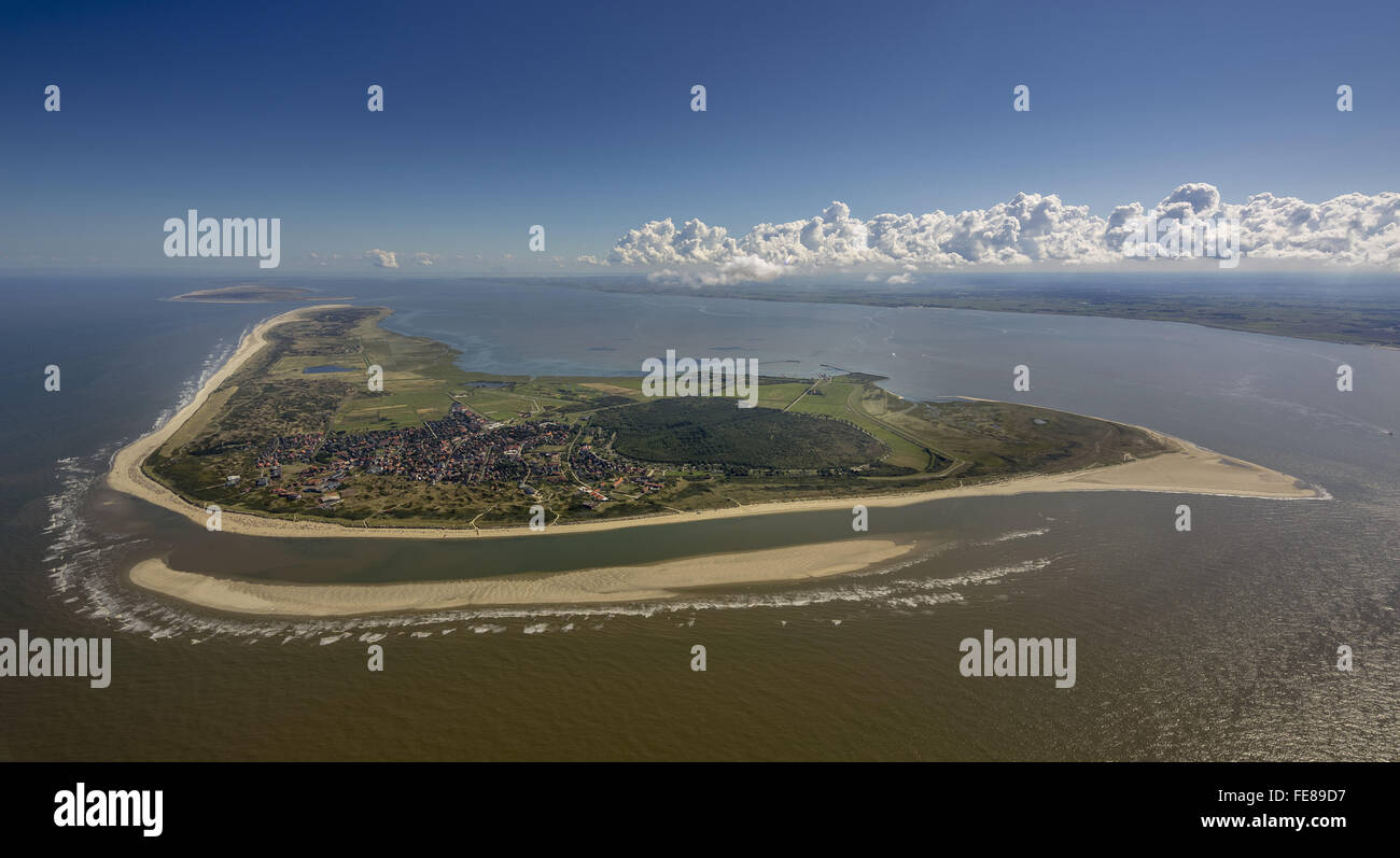 Sandbank, aerial, Langeoog, North Sea, North Sea island, East Frisian Islands, Lower Saxony, Germany, Europe, Aerial Stock Photo