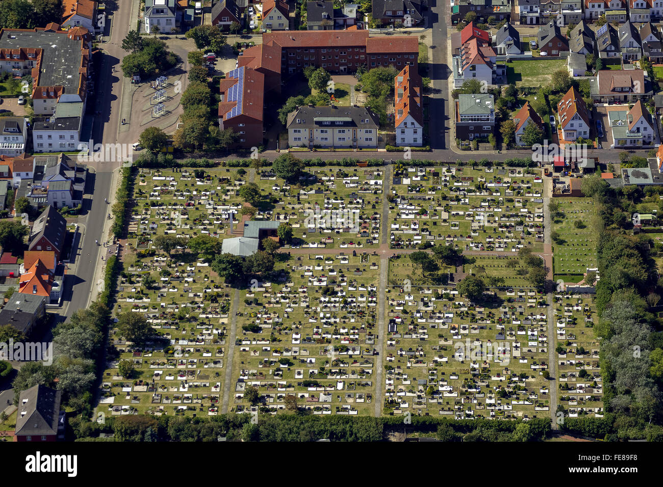 Cemetery Norderney, aerial, Norderney, North Sea, North Sea island, East Frisian Islands, Lower Saxony, Germany, Stock Photo