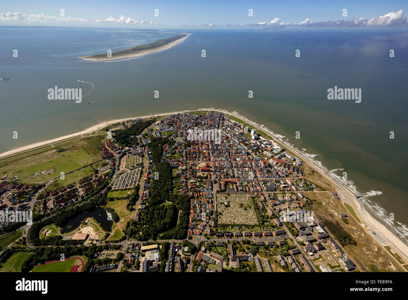 Place Norderney, West Island, aerial view, Norderney, North Sea, North Sea island, East Frisian Islands, Lower Saxony, Stock Photo