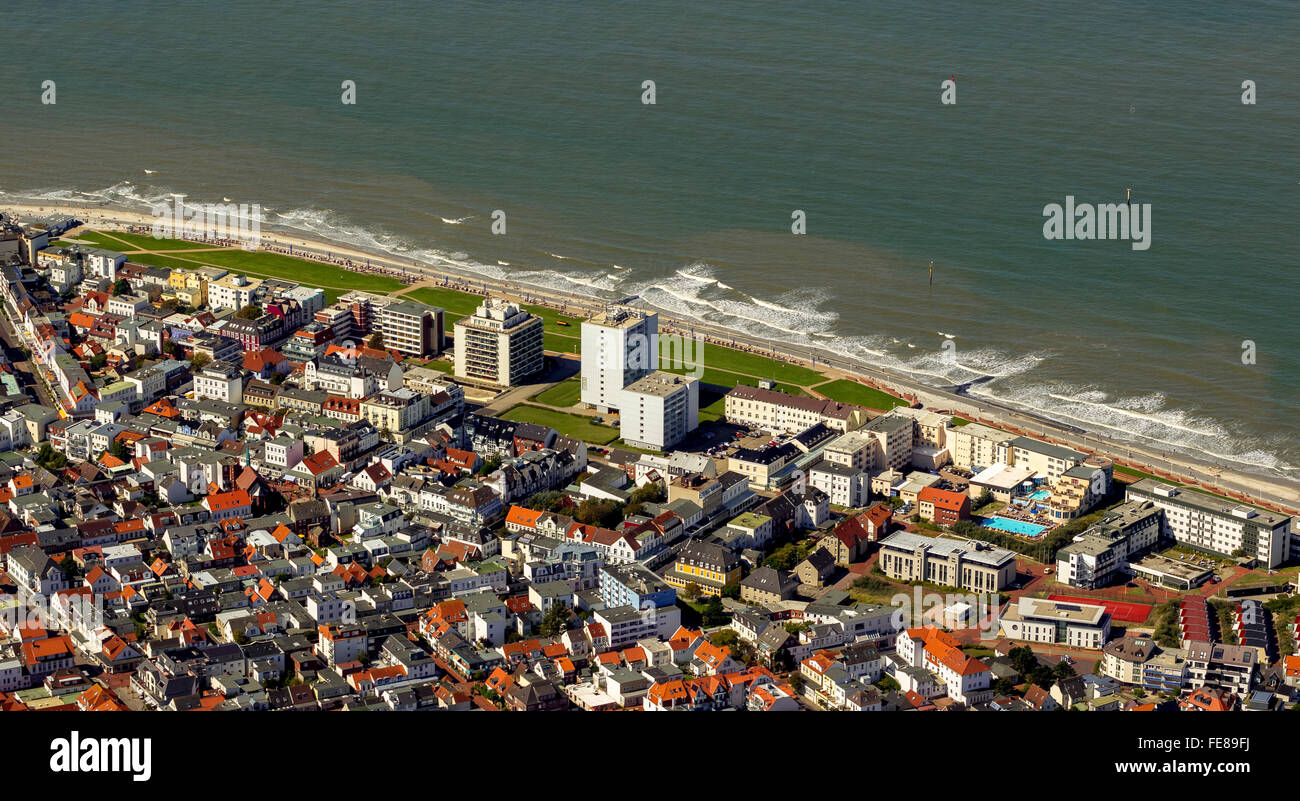 Aerial, aerial view, Norderney,  North Sea, North Sea island, East Frisian Islands, Lower Saxony, Germany,  , Europe, Stock Photo