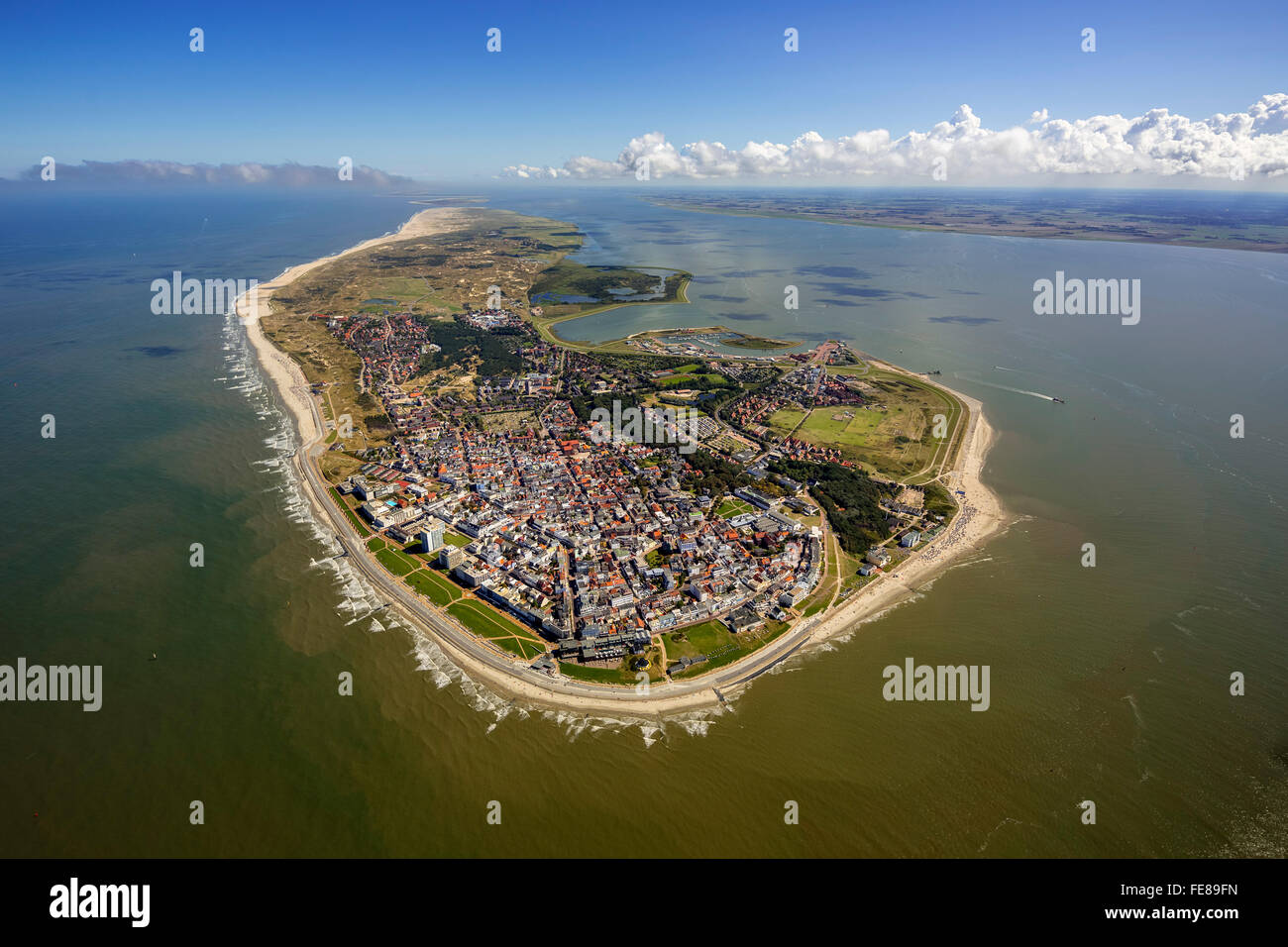 Aerial view, place Norderney, West Island, Wadden Sea, aerial view, Norderney, North Sea, North Sea island, East Stock Photo