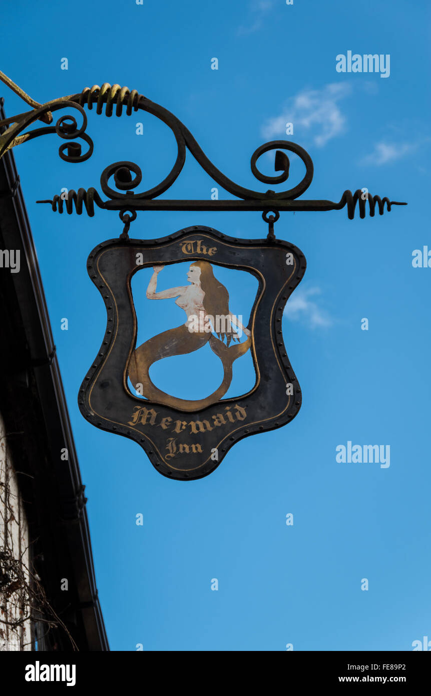 Hanging wrought iron sign at the Mermaid Inn, Rye, East Sussex - Stock Image