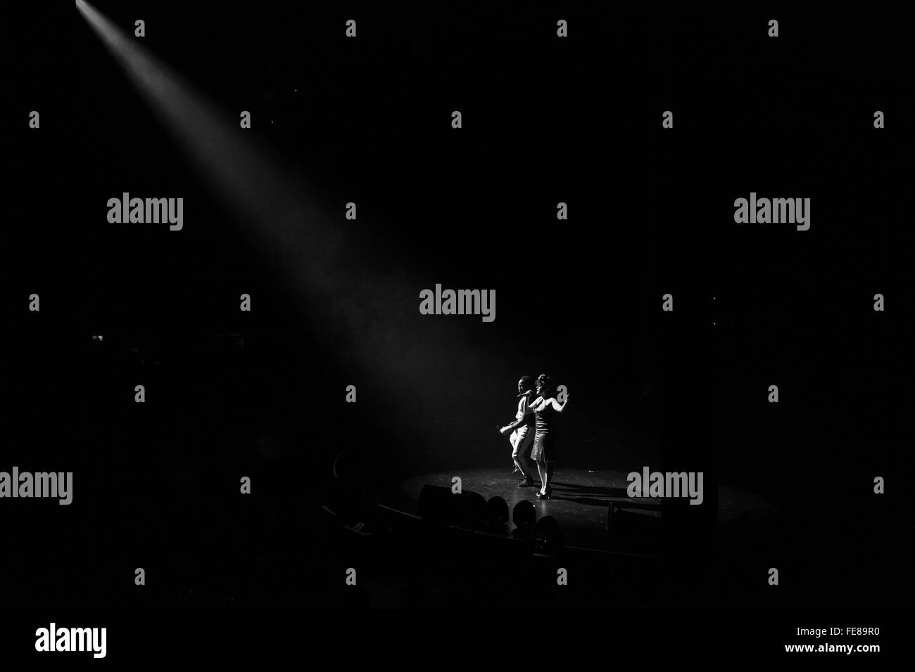 Female duo performance, Circolombia Circus, Roundhouse, Camden, London, England, UK. - Stock Image