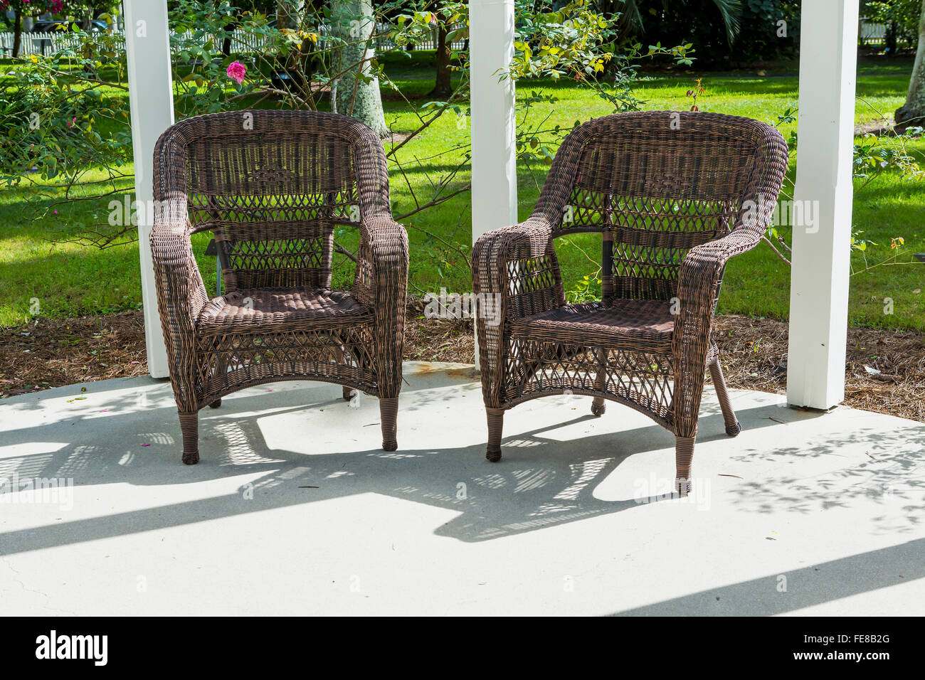 Brown wicker chairs on the terrace florida stock image