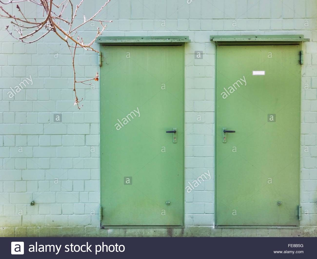 Closed Doors Of Building - Stock Image