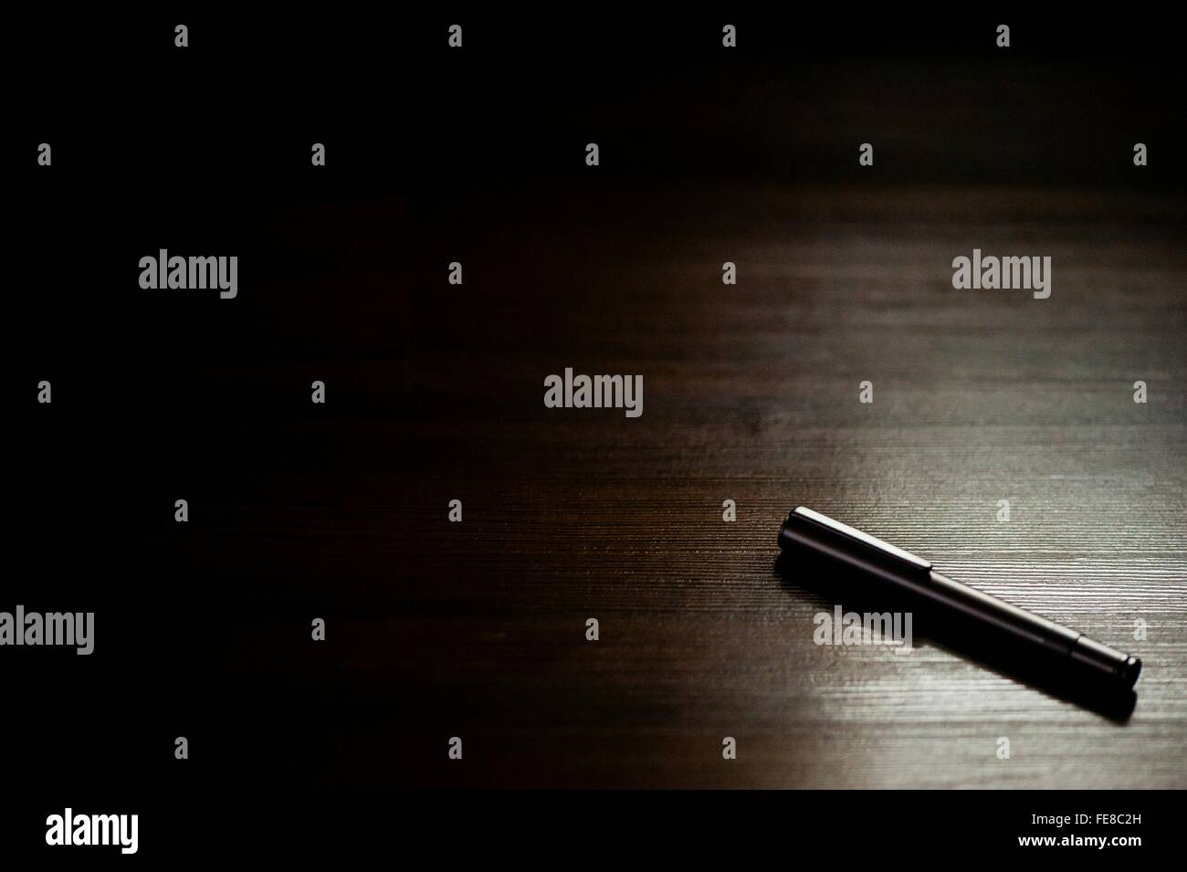 High Angle View Of Fountain Pen On Table - Stock Image