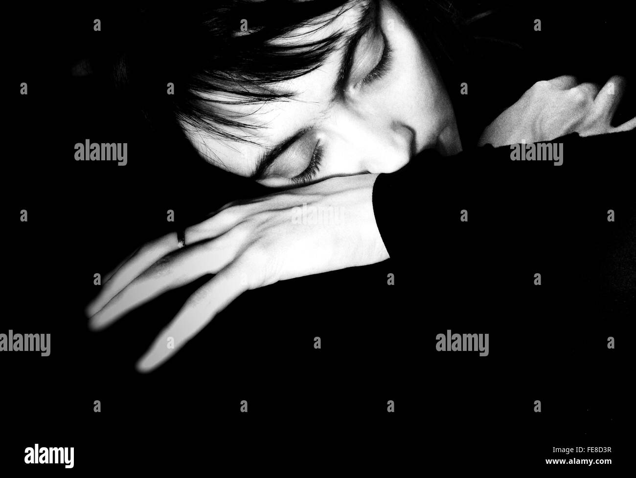 Portrait Of Woman Sleeping - Stock Image