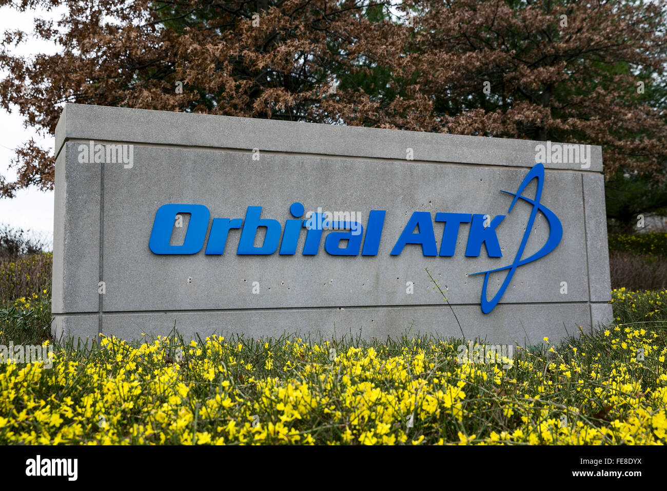 A logo sign outside of the headquarters of Orbital ATK Inc., in Dulles, Virginia on January 1, 2016. - Stock Image
