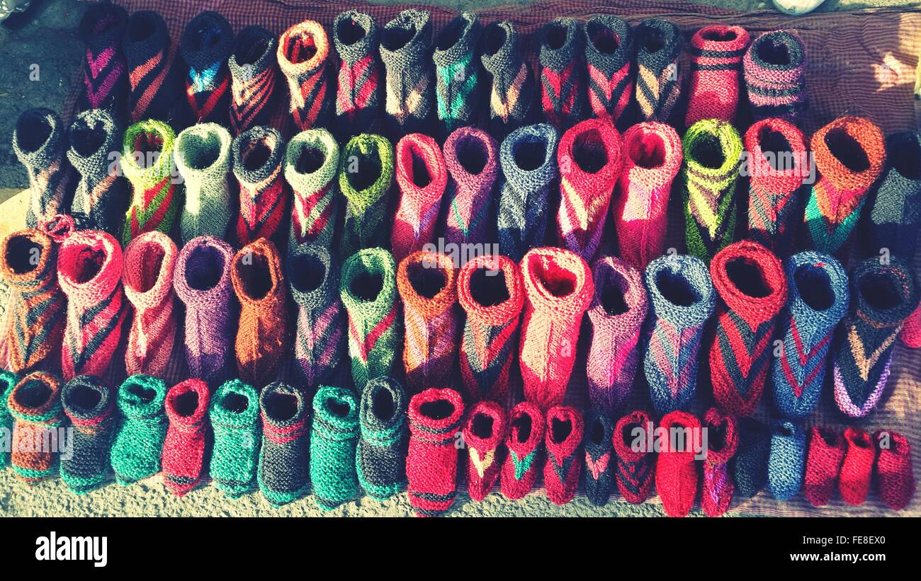 Knitted Wool Socks For Sale At Market Stall - Stock Image