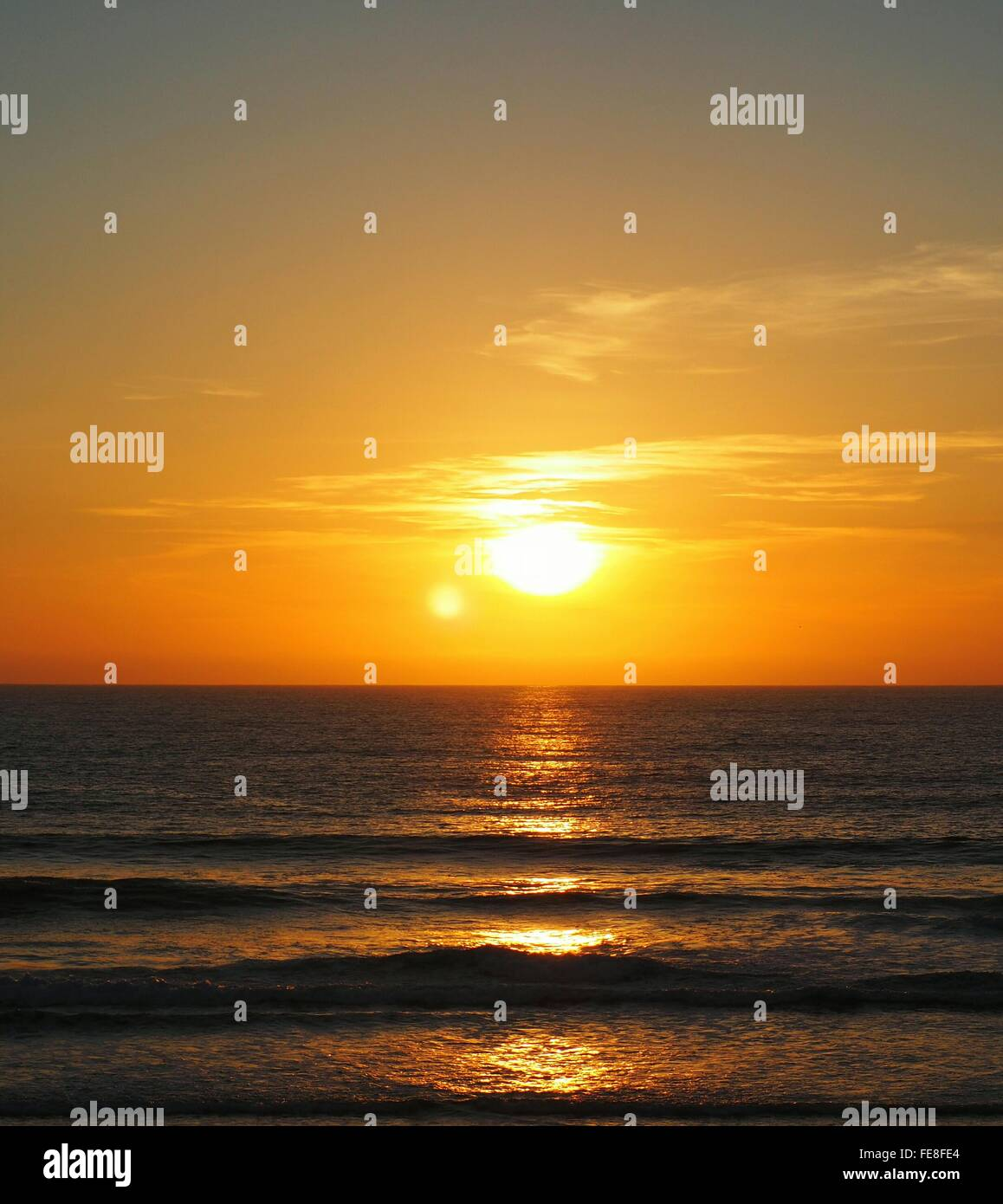 View Of Sea During Sunrise - Stock Image