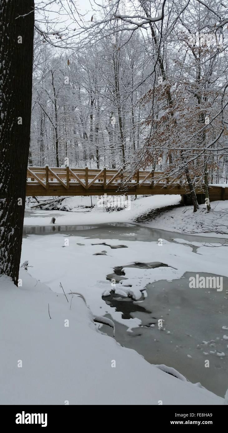 Bridge Over Frozen Canal - Stock Image