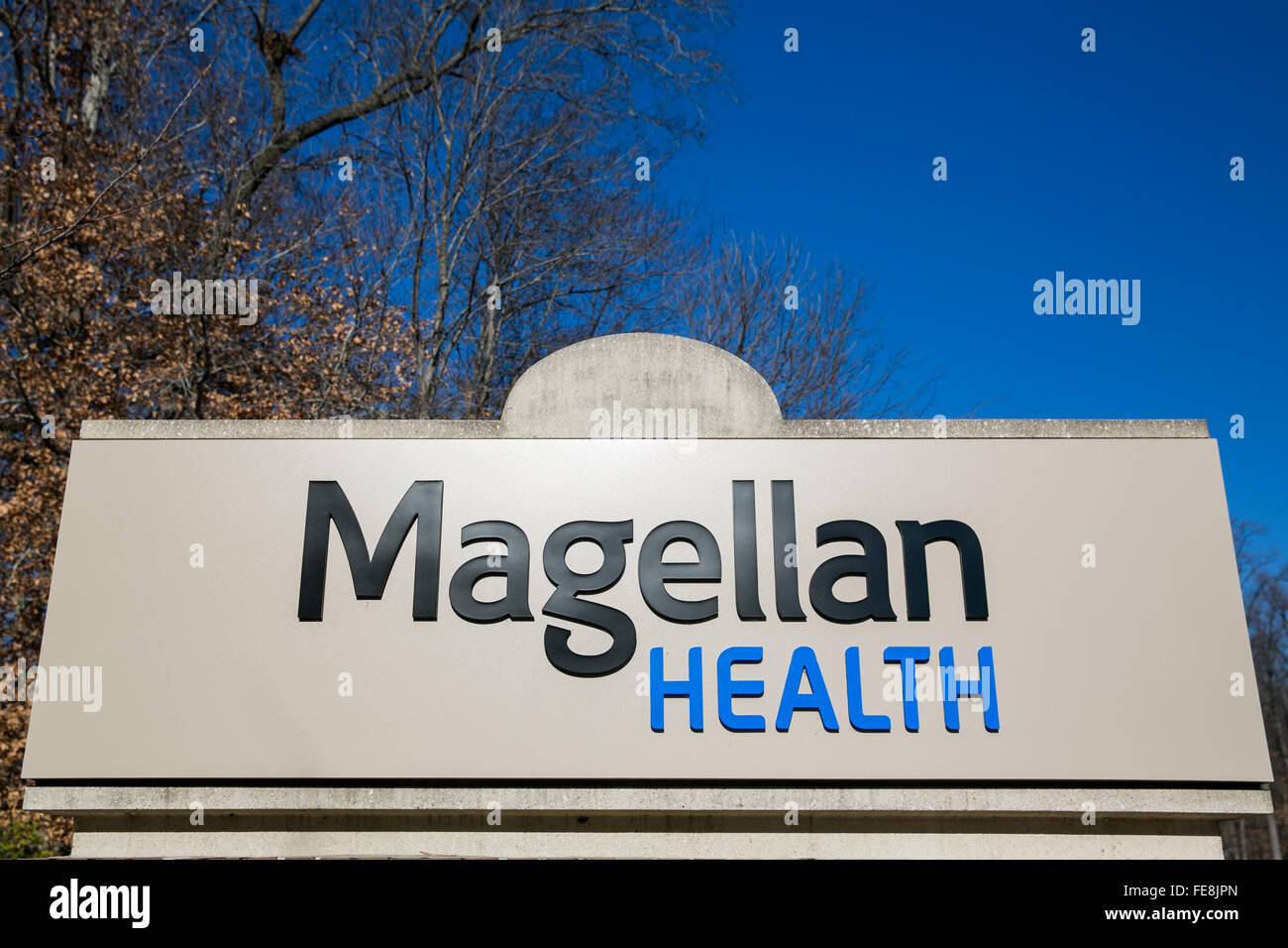 A logo sign outside of an office building occupied by Magellan Health Inc., in Columbia, Maryland on January 2, - Stock Image