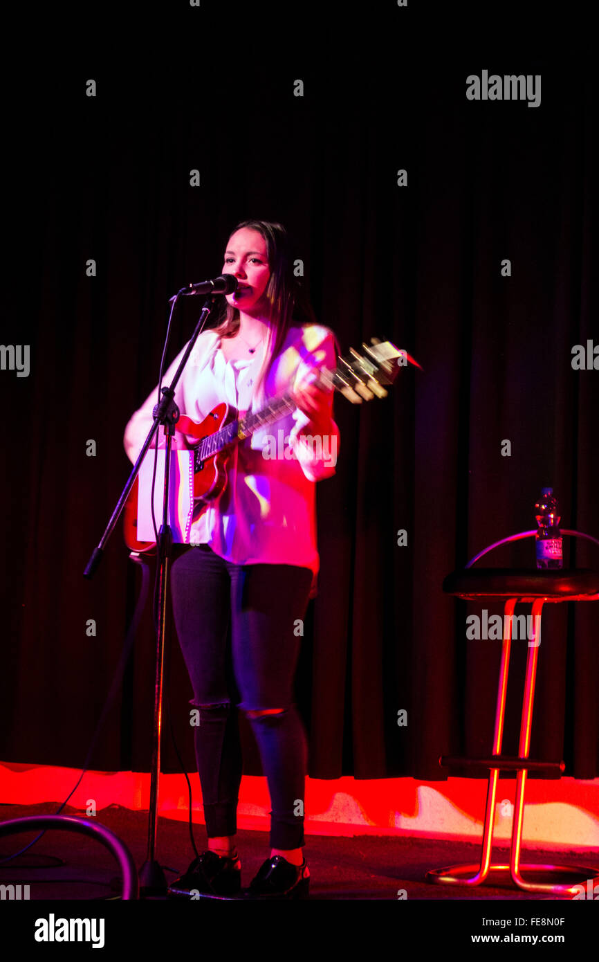 Singer Fanny Sophia Carabias performs in Mannheim, Germany, on 1 February 2016 - Stock Image