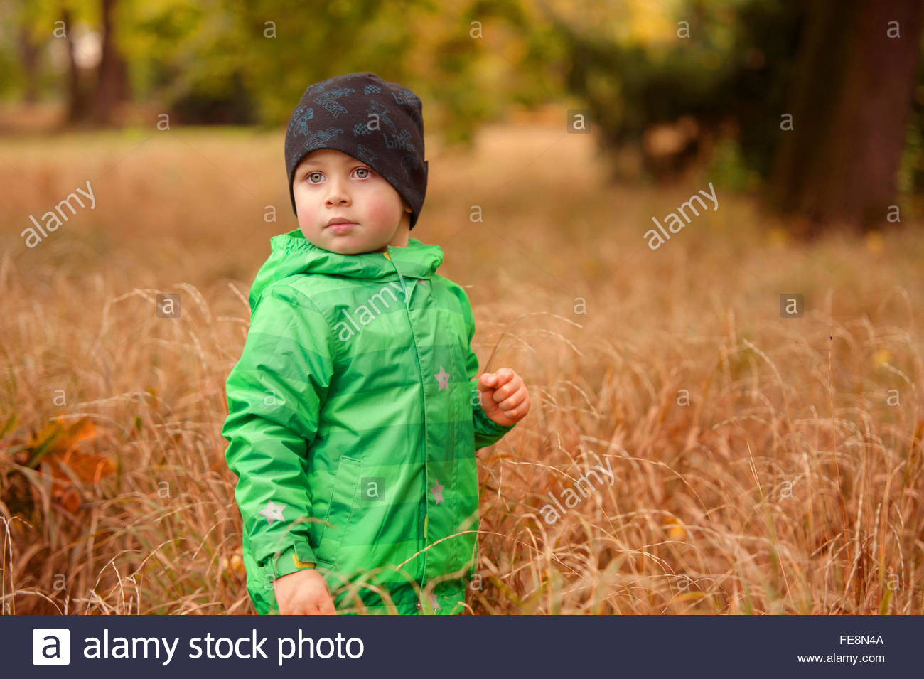 845f5604a976 Small boy with hat in the green jacket among the high autumn grass ...