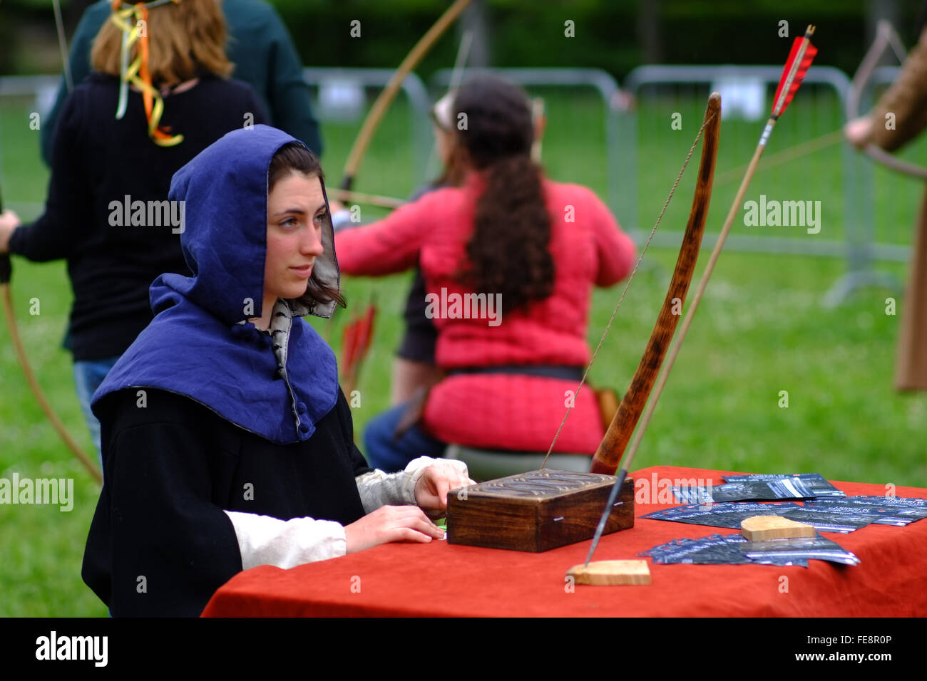 Candid shot taken during the famous games of Carnasciale, this year having place in Florence, - Stock Image