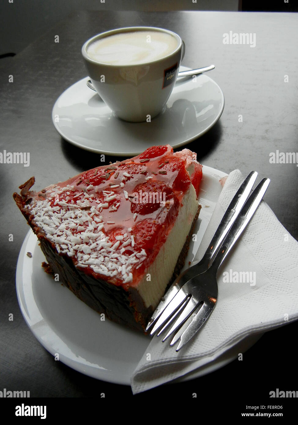 Skyyr Cheesecake and Cappuccino in Reykjavik Iceland - Stock Image
