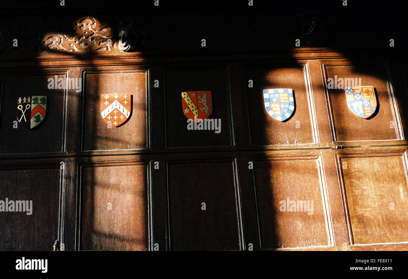Low Angle View Of Emblems On Wooden Wall - Stock Image