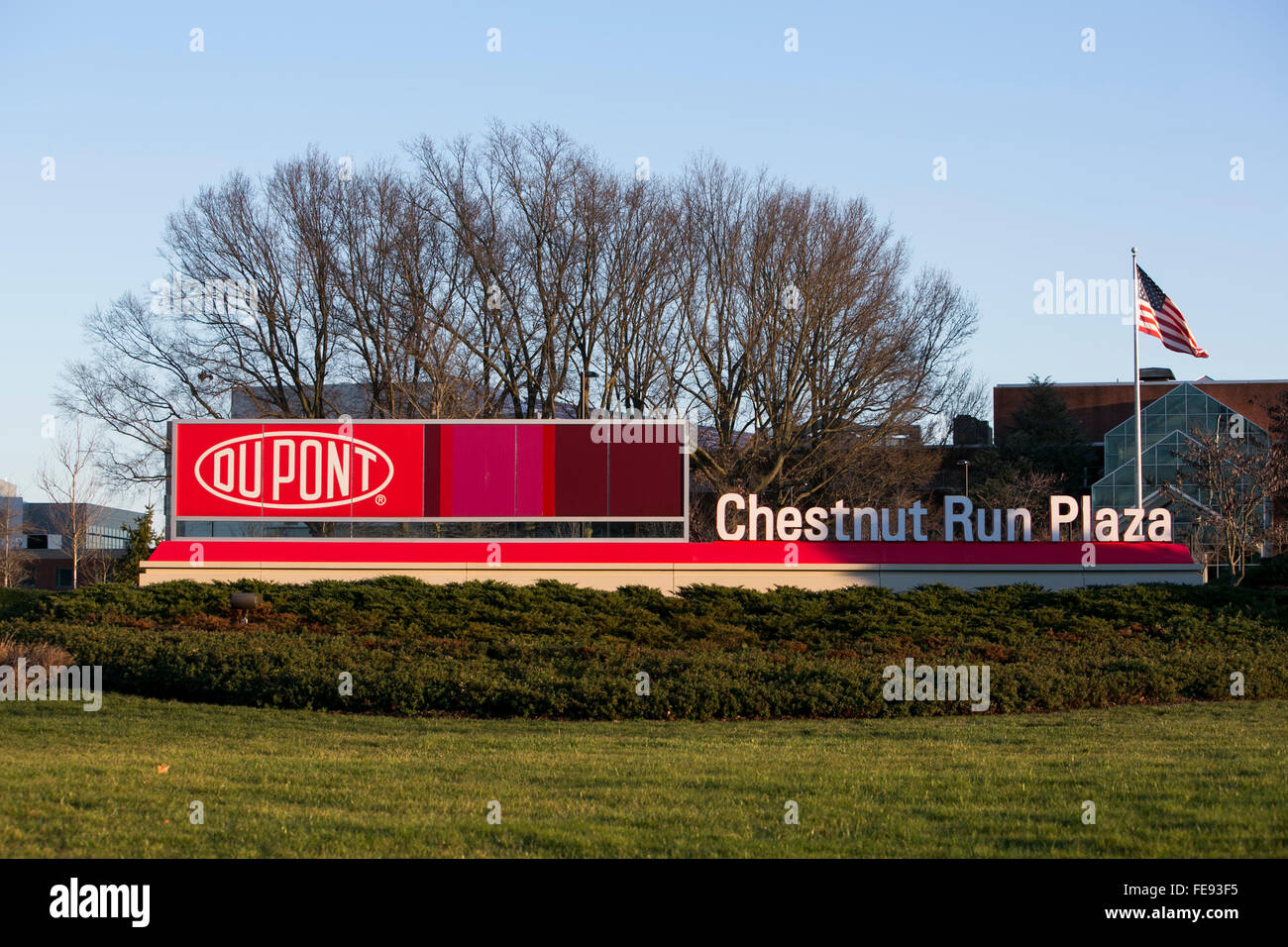 A logo sign outside of the Chestnut Run Plaza headquarters campus of DuPont in Wilmington, Delaware on January 3, - Stock Image