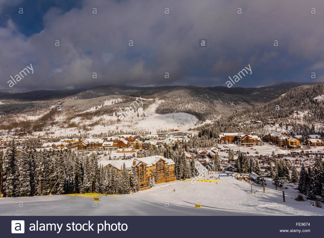 View down from ski slope to River Run Village, Keystone Resort, Colorado USA. - Stock Image