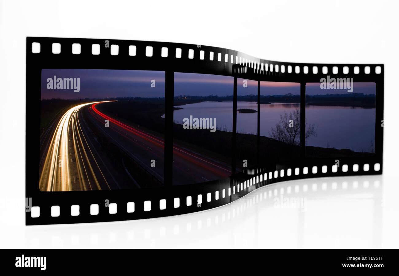 Light trails Film Strip - Stock Image