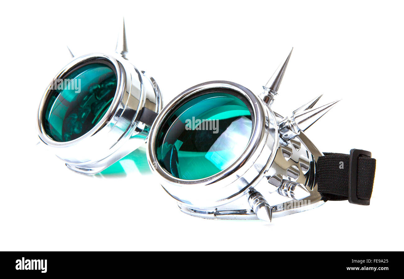 SteamPunk Goggles  on white background - Stock Image