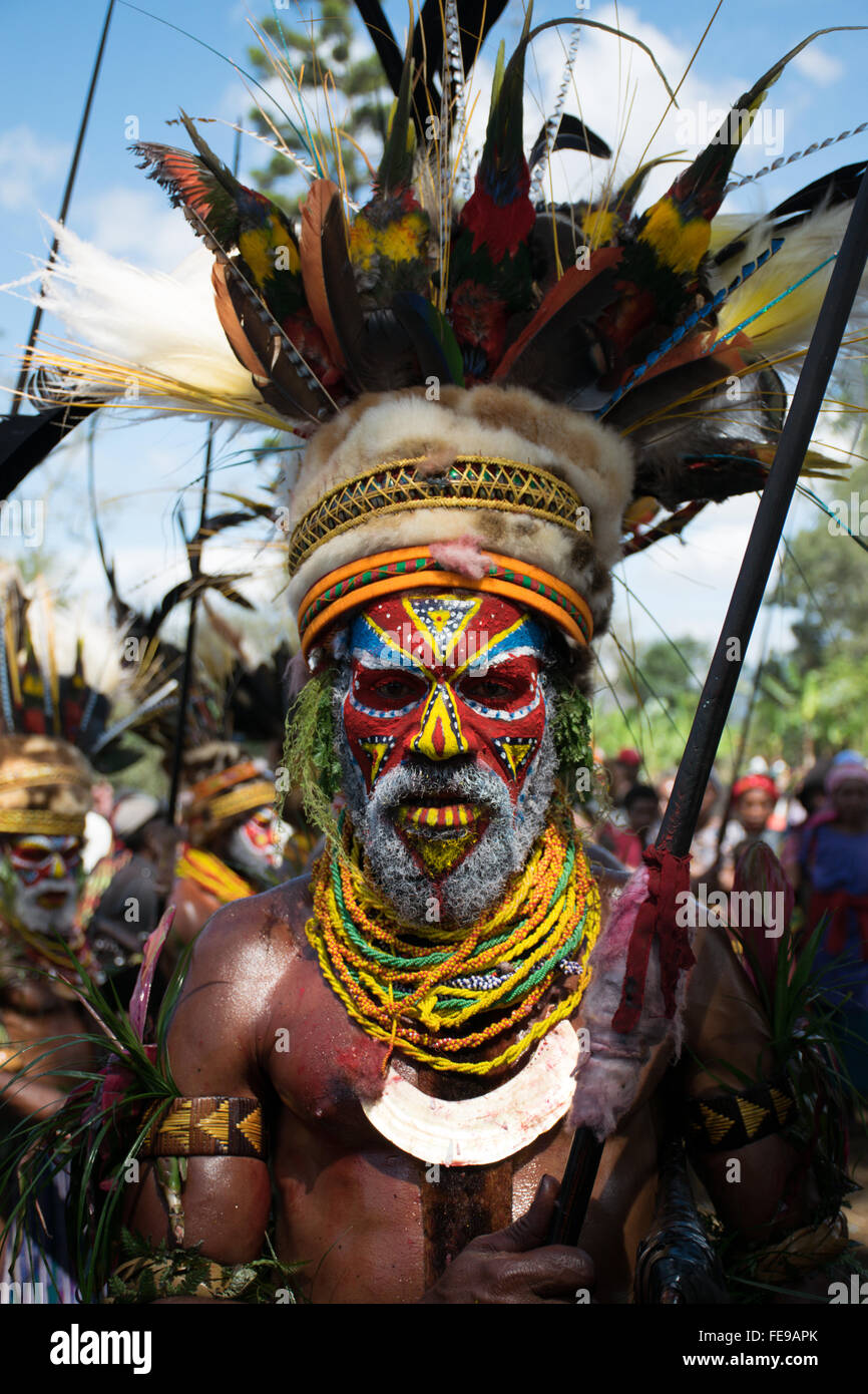 Portrait of a Papua New Guinean Tribal Warrior at Mount Hagen Show - Stock Image