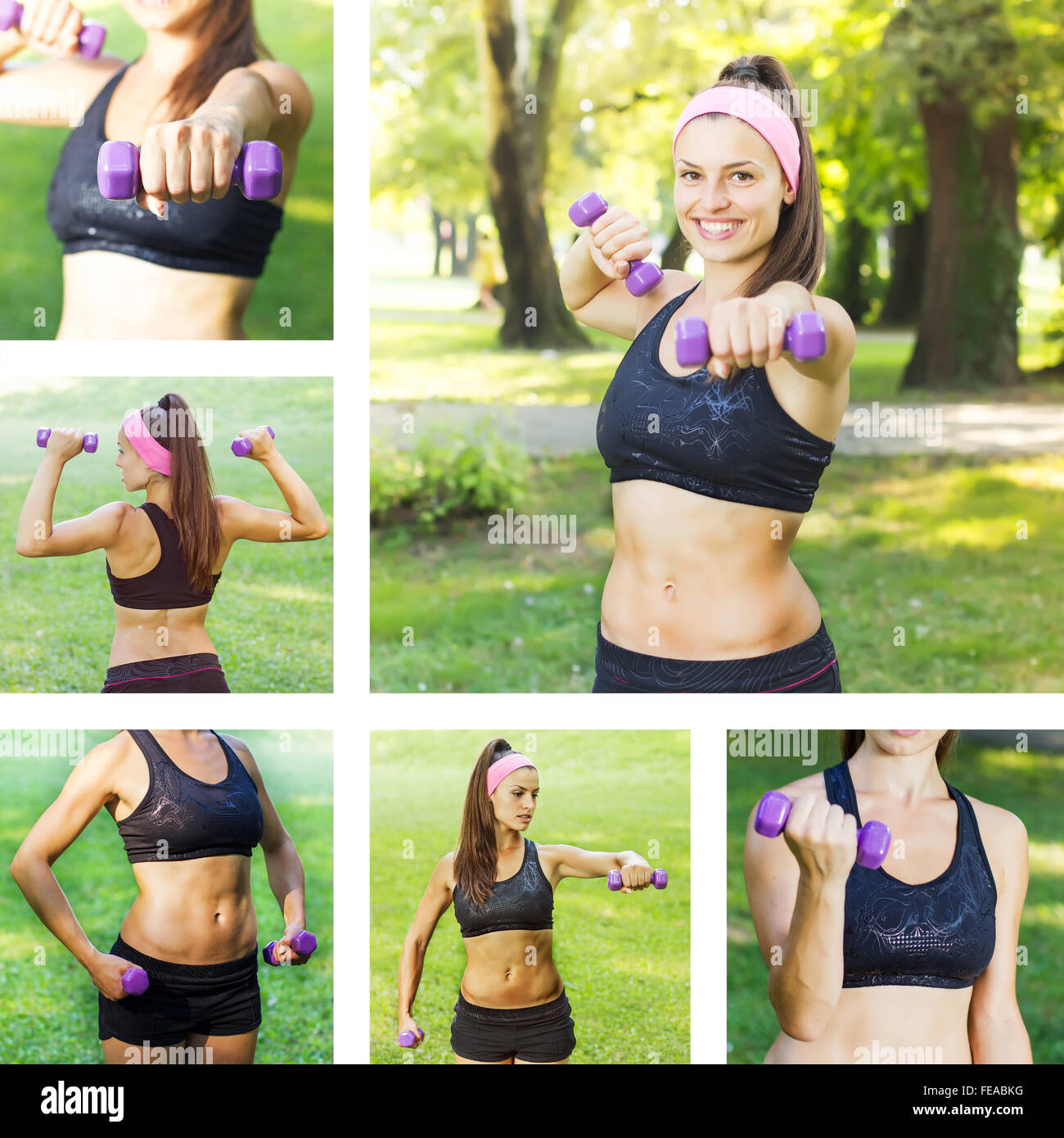 Fitness Slim Woman Training with dumbbells. Collage of attractive female practicing using hand weights outdoor. - Stock Image