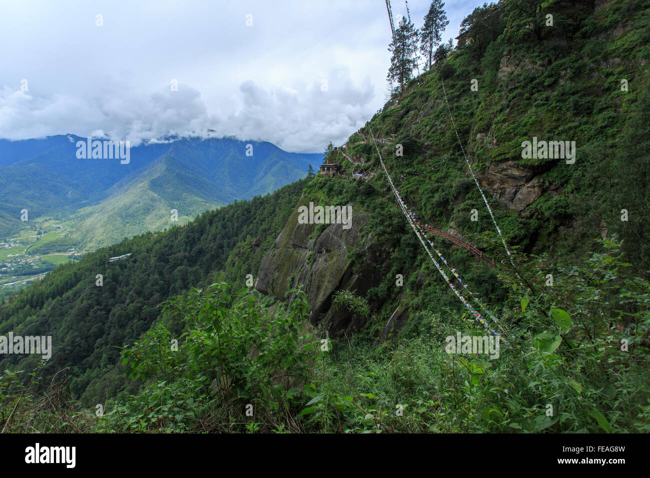 View from Taktsang Monastery, Bhutan - Stock Image