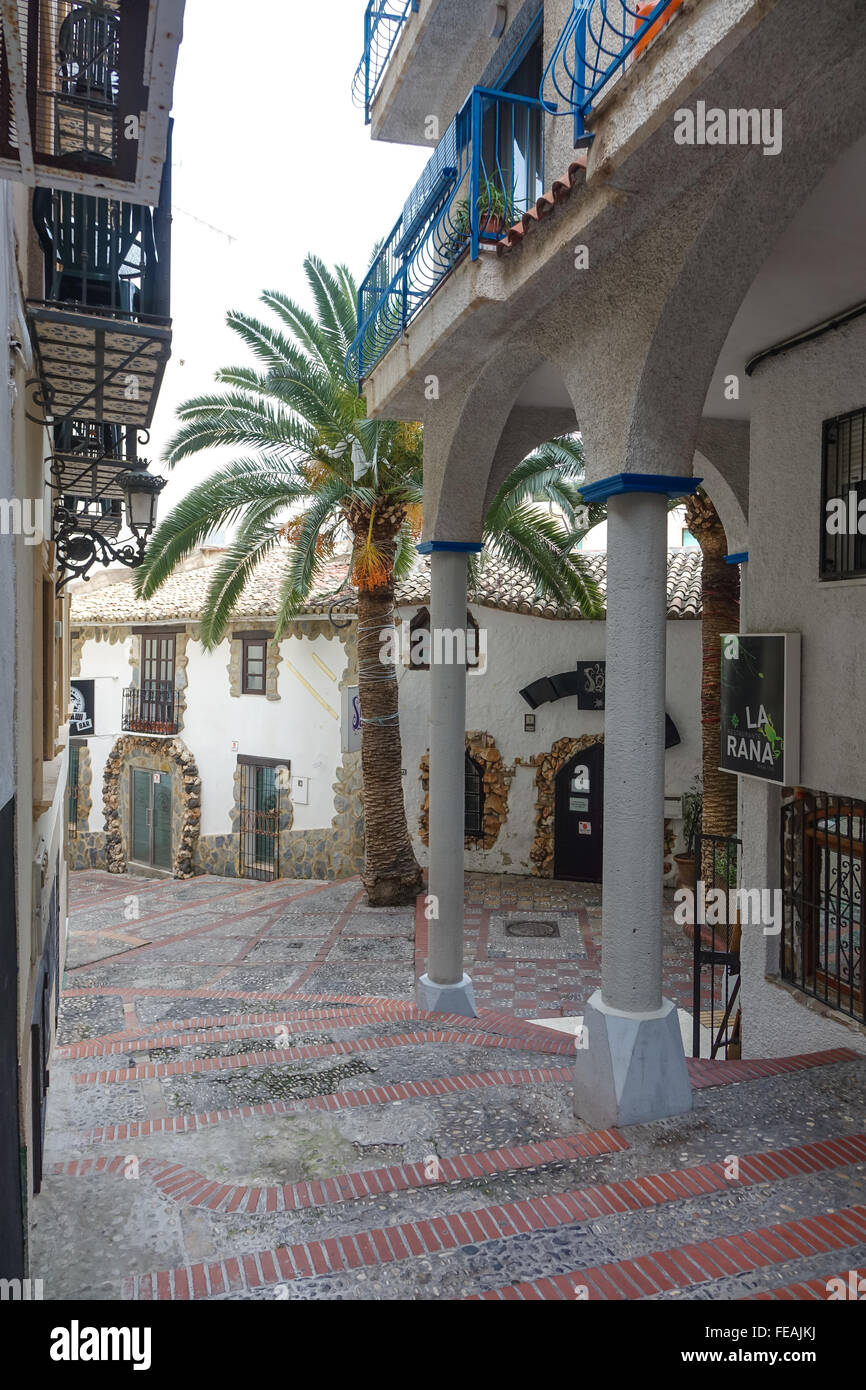 La Sal bar and La Rana restaurant in the old town, Benidorm, Alicante Province, Spain. The bar in the centre has - Stock Image