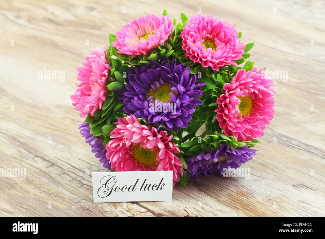 Good Luck Card With Colorful Daisy Flower Bouquet Stock Photo
