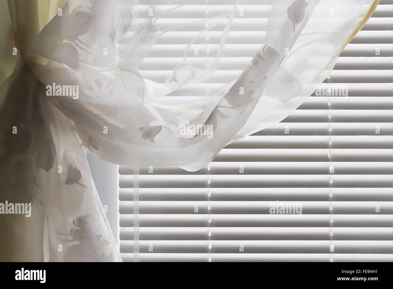Horizontal blinds curtain - Stock Image