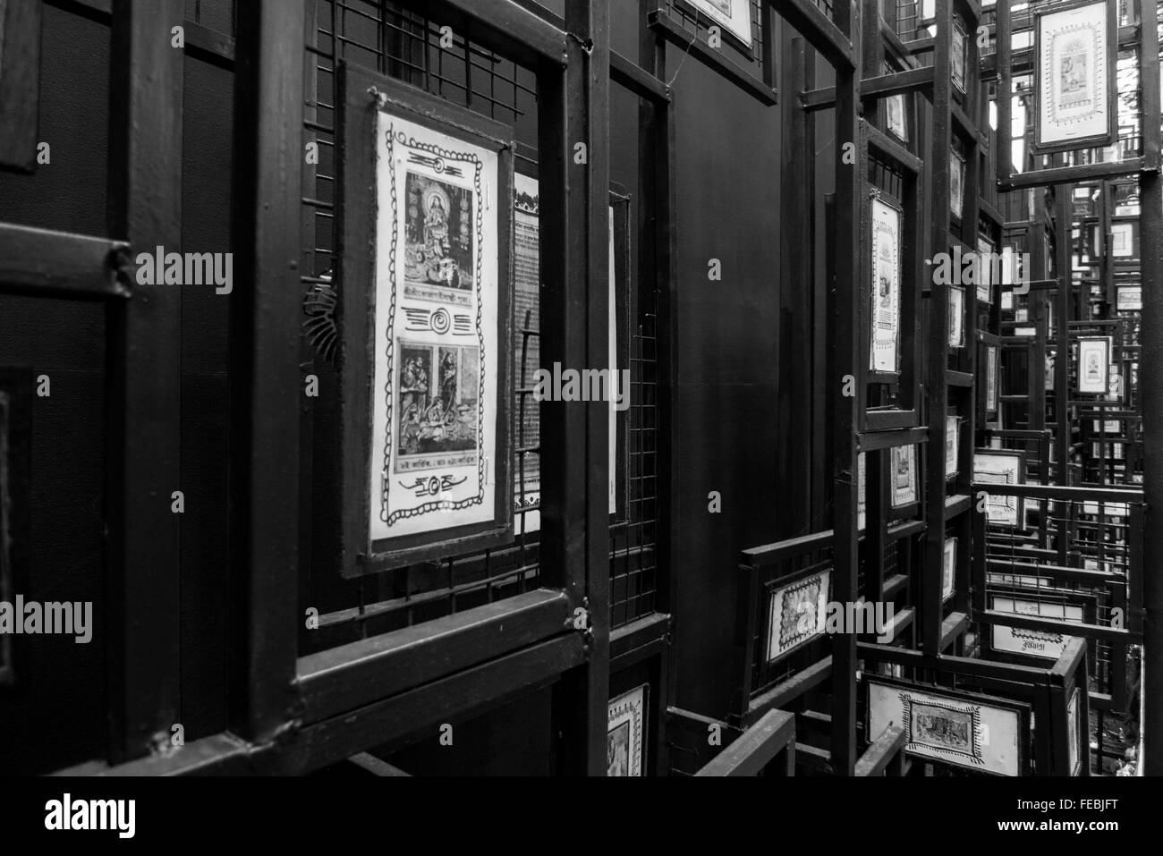 Old news clippings framed and decorated - Stock Image